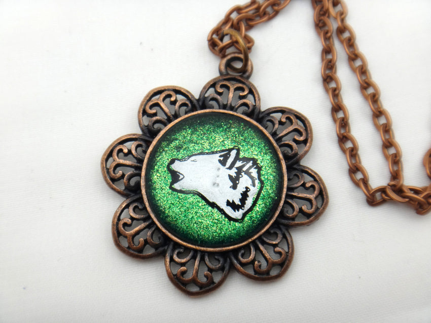 Jewelry/Necklace - Hand Painted Wolf Necklace
