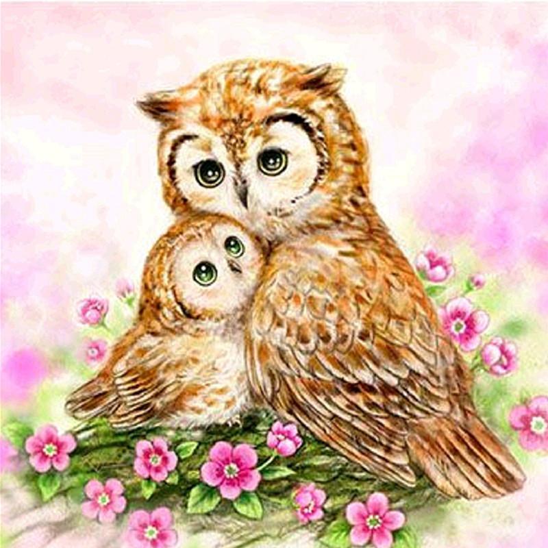 Owl Snuggles Diamond Painting Kit