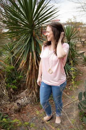 Tunic Extended V-Neck Blush