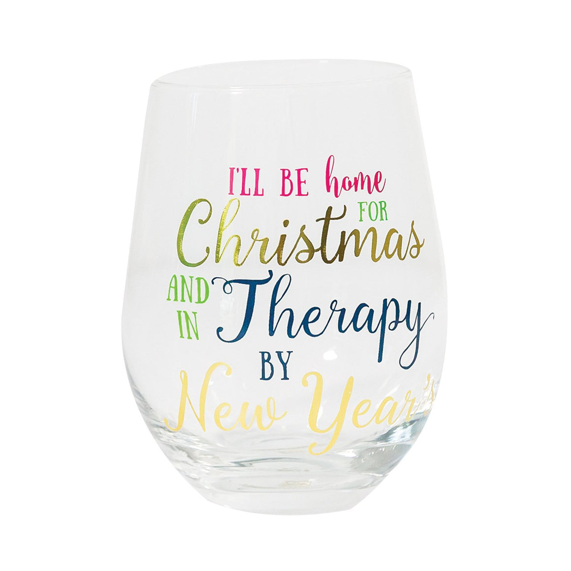 Glass Stemless Wine Therapy by New Years