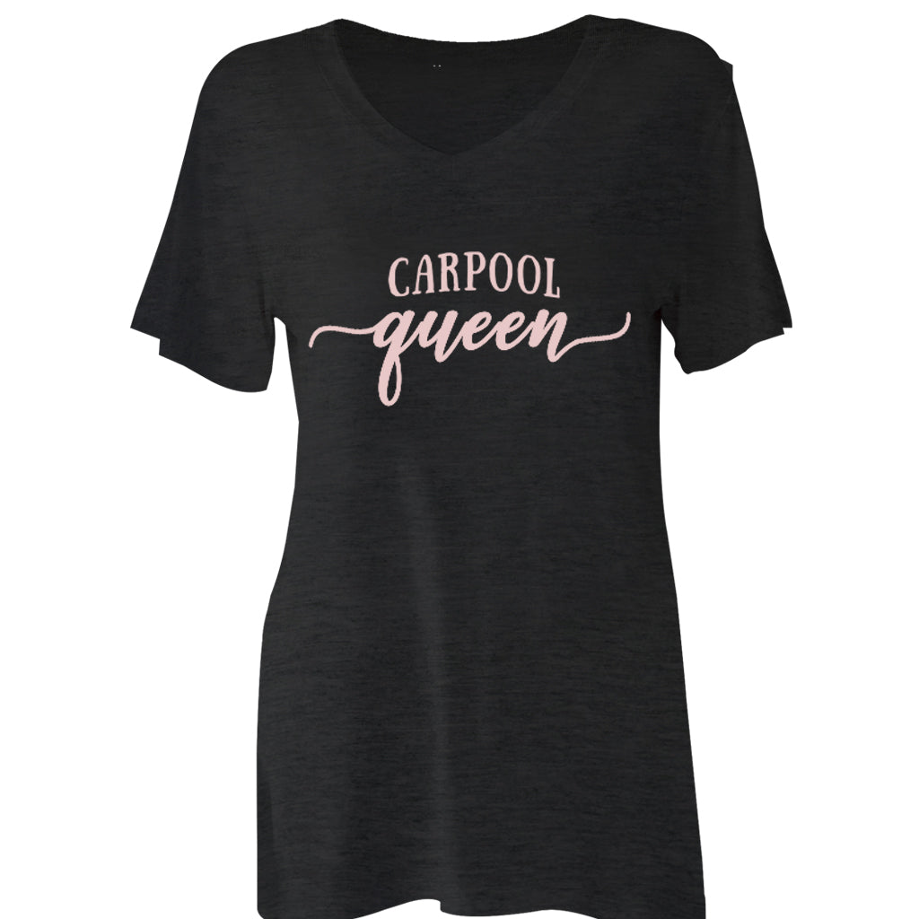 Tee Shirt V-Neck Carpool Queen Black