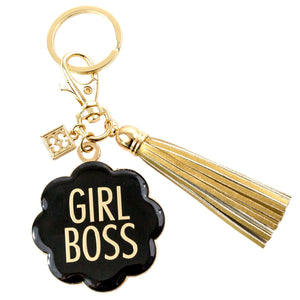 Keychain with Tassel Girl Boss Black