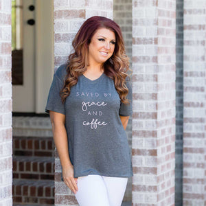 Gray | V Neck T Shirt | Saved By Grace and Coffee