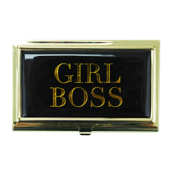 Business Card Holder Girl Boss Black