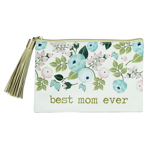 Pouch Tassel Best Mom Floral