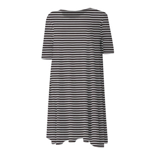 Maternity | Swing Dress | Black & White Stripe