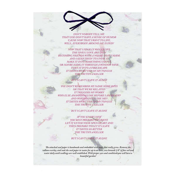 Seed Paper Lyric Sheet