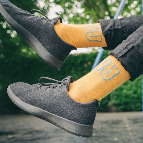 Mountain Sketch Socks (Yellow/Blue)