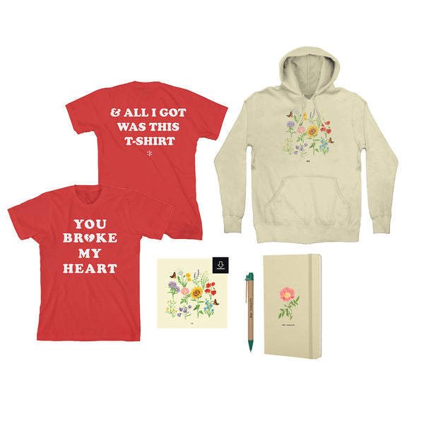 'we' album cover hoodie + 't-shirt' t-shirt + 'dear insecurity' journal + 'dear insecurity' pen + Digital Album + IGTs