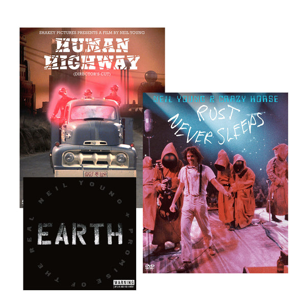 Human Highway + Rust Never Sleeps Blu Ray + Earth CD Bundle