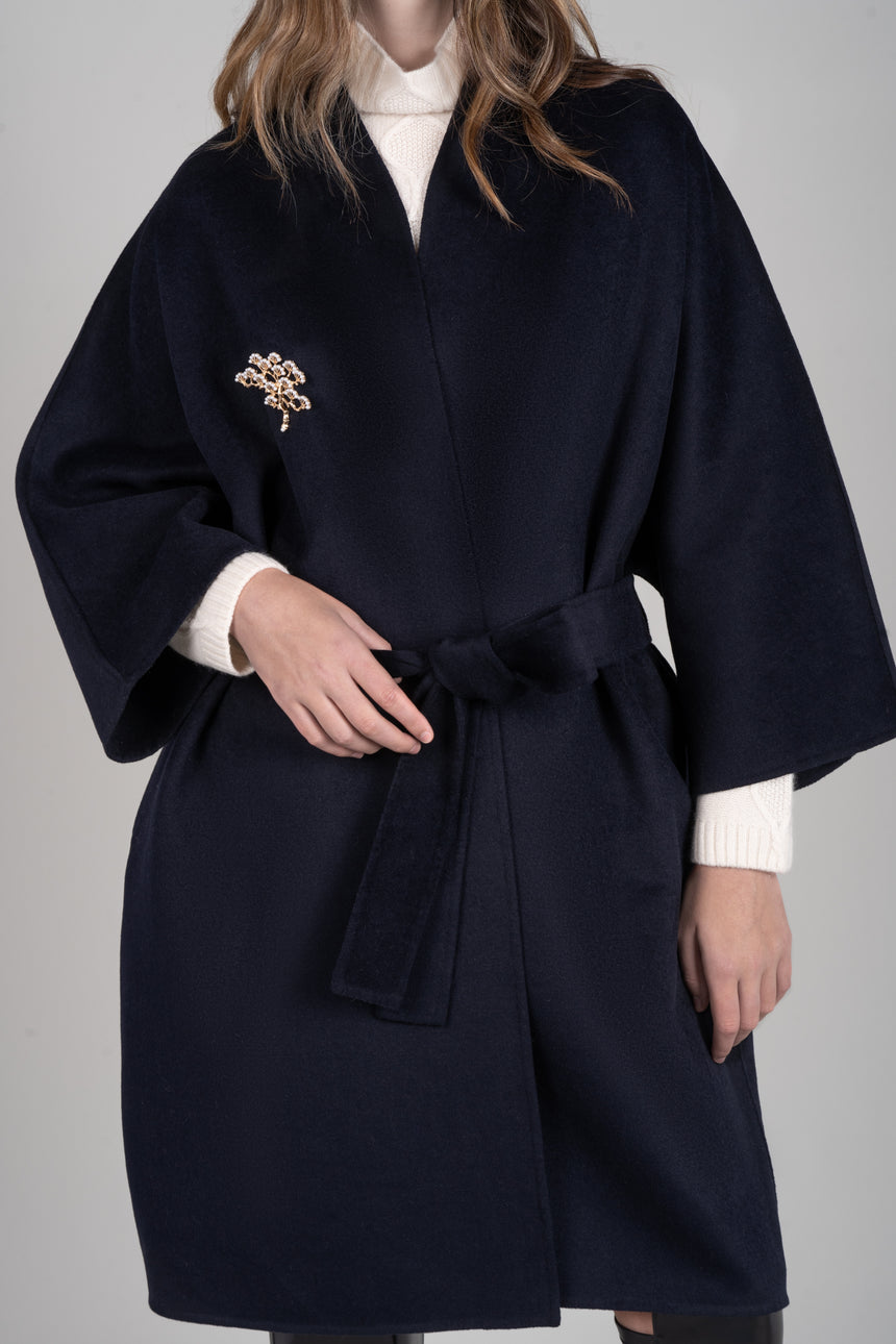 JL084 Yukata Fit Navy Coat