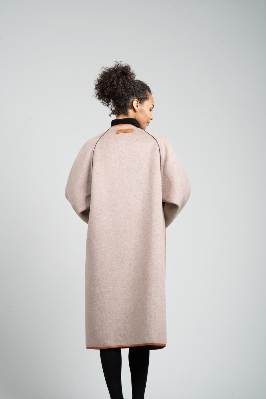 JL066A Vegan Leather-trimmed Coat in Cashmere and Silk
