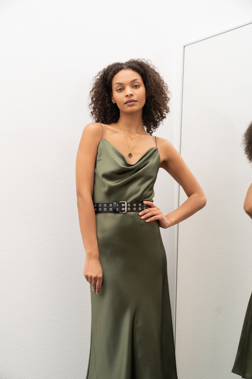 SP301 Rich Avocado Green Silky Satin Dress