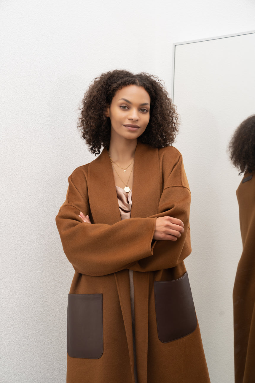 JL065A Oversize Belted Coat in Cashmere
