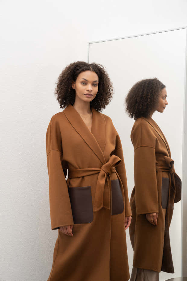 JL065A Oversize Belted Coat in Cashmere 1