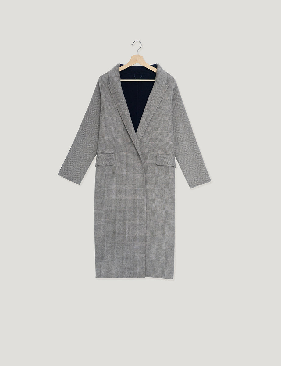 JL040 Glen Plaid Midi Length Coat