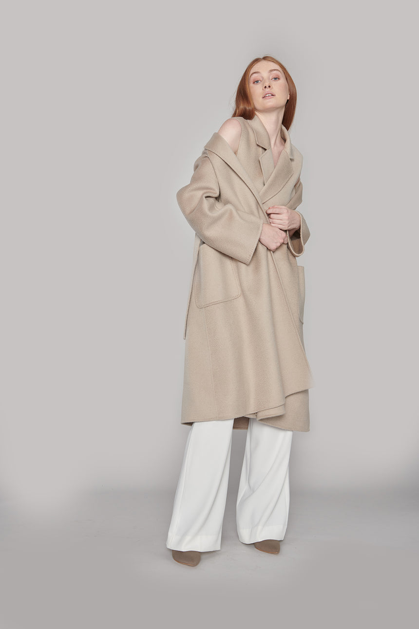 JL047 Crystal Gray Coat with Belt