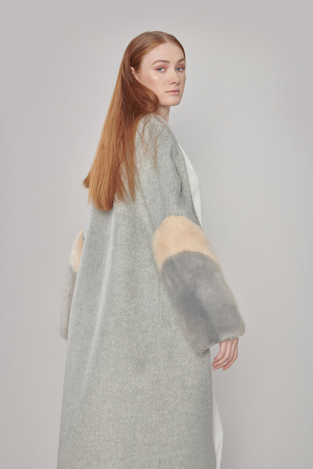 JL048 Luna Vegan Laux-fur Patchwork Coat