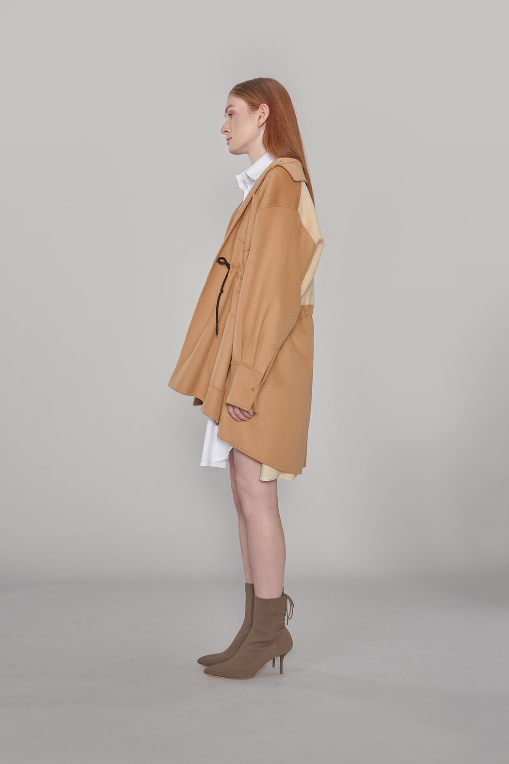JL037A Cashmere-Wool Color Block Parka