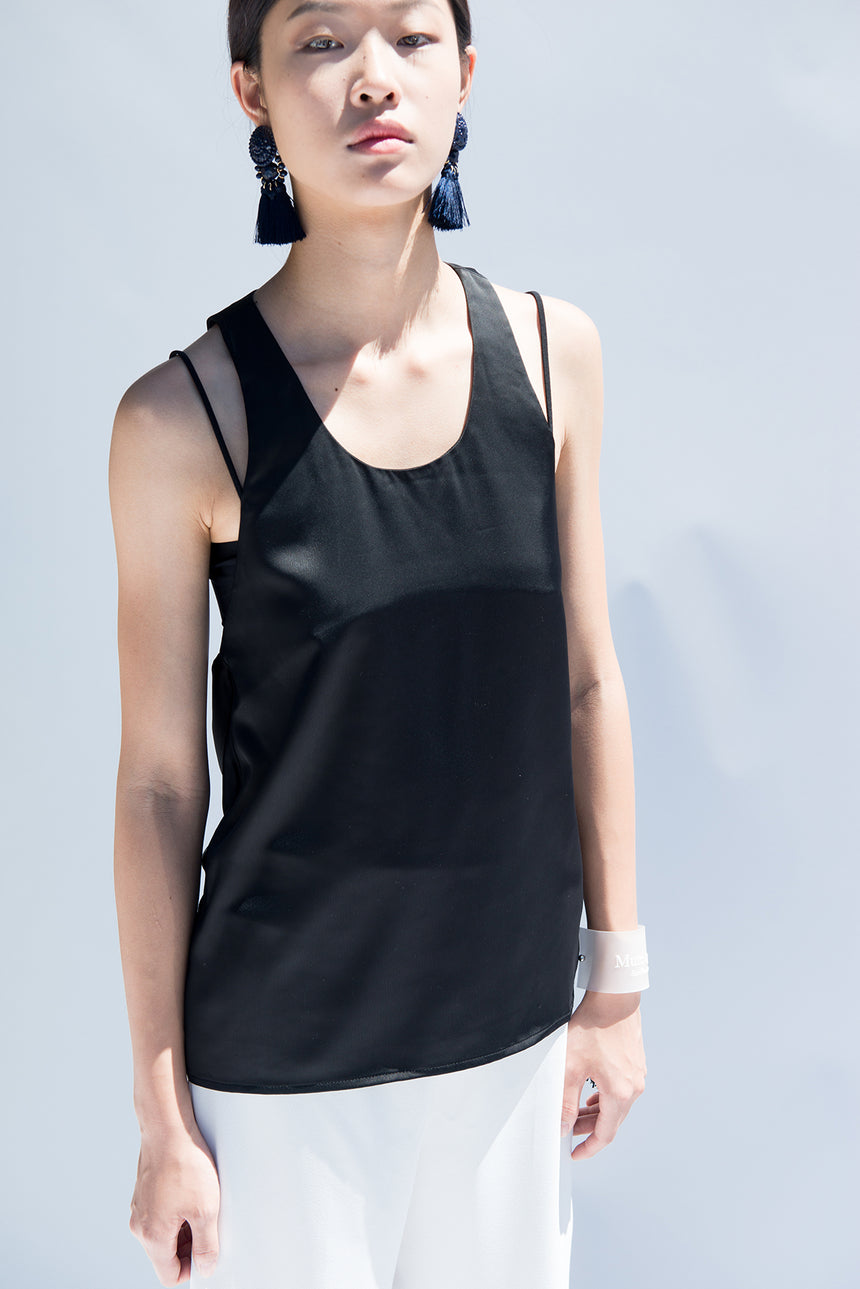 M062 Black Satin Silk Sleeveless Top