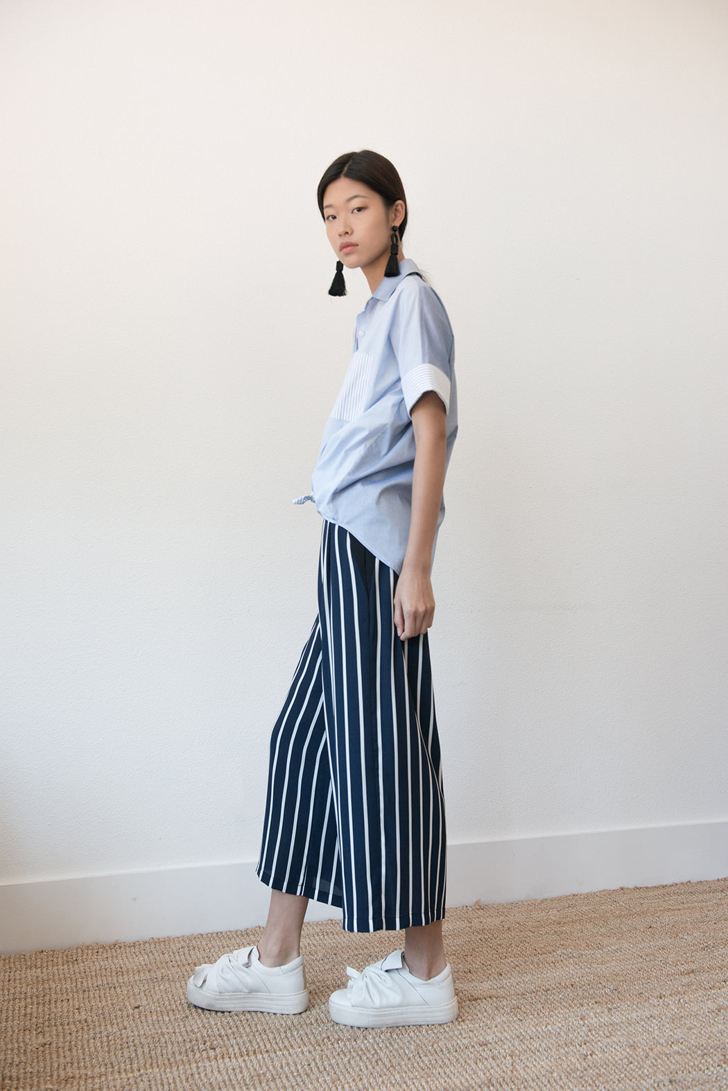 M085 Strip Pants with Belt