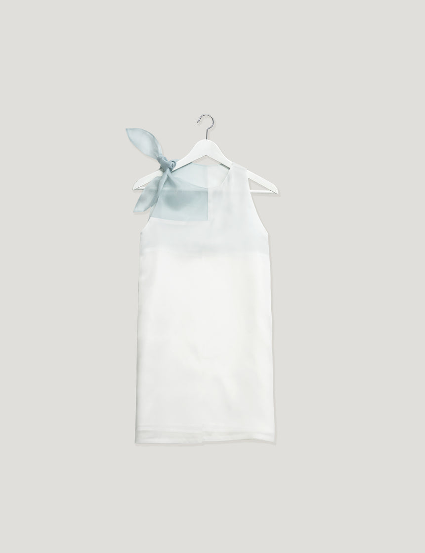 M092 Mint White Refresh Silk Dress