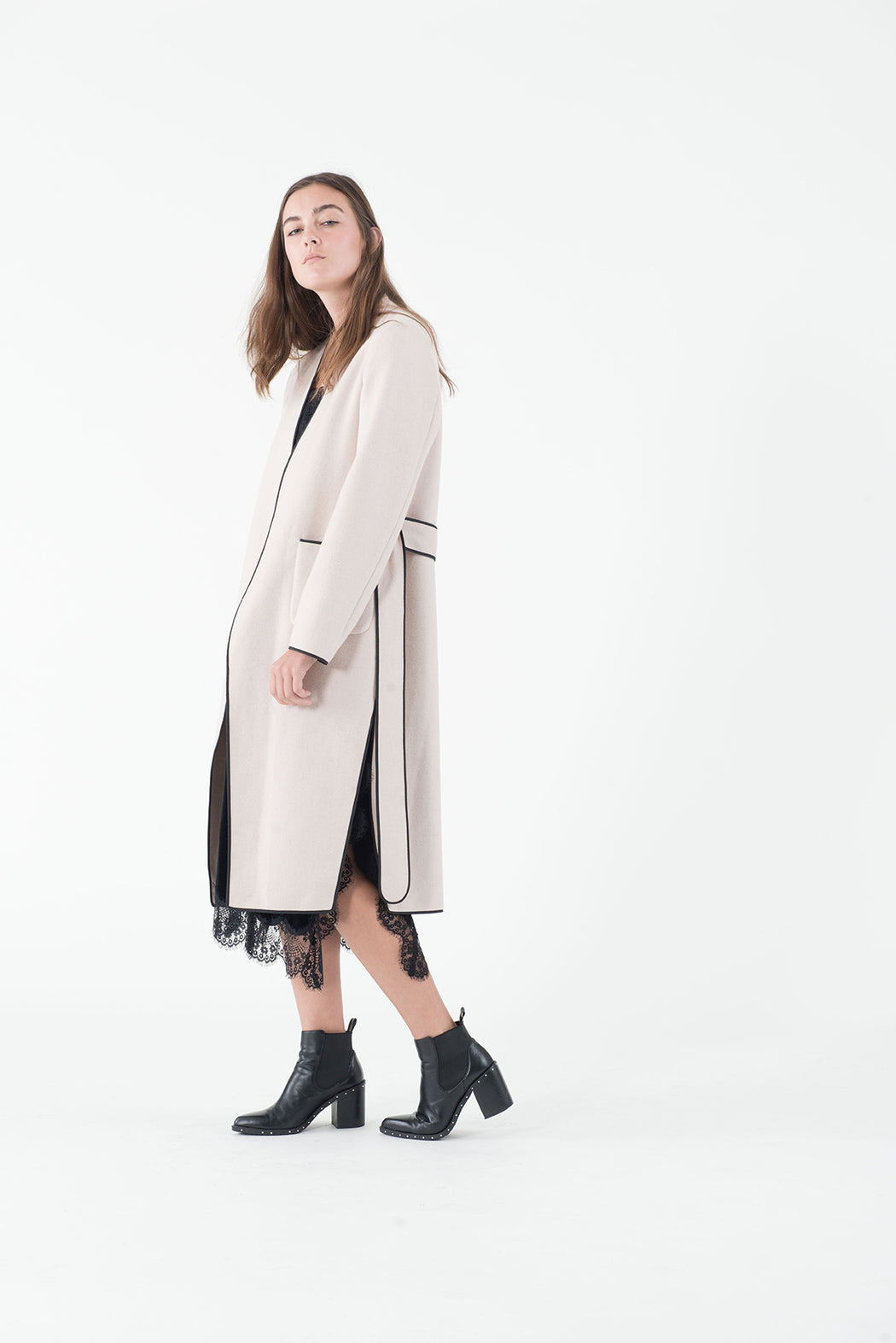 MT015 Double face cashmere cream France coat
