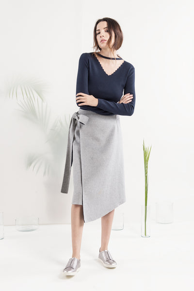 JL009 Gray Navy wrap skirt