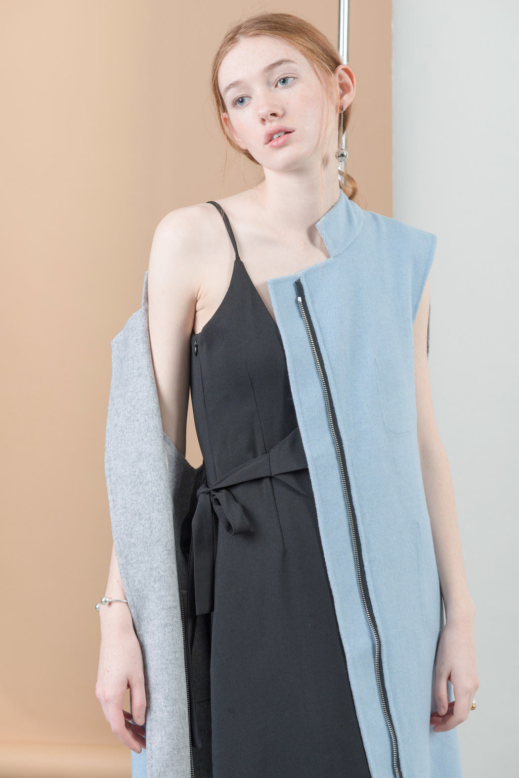 MT016 Double face cashmere midi length biker vest
