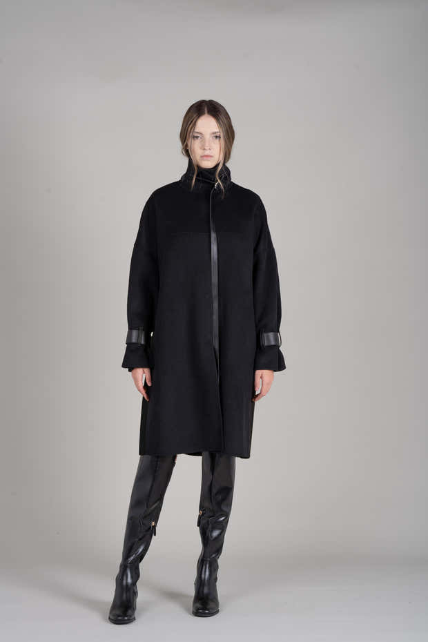 JL069B Oversized Leather-trimmed Wool Coat 1