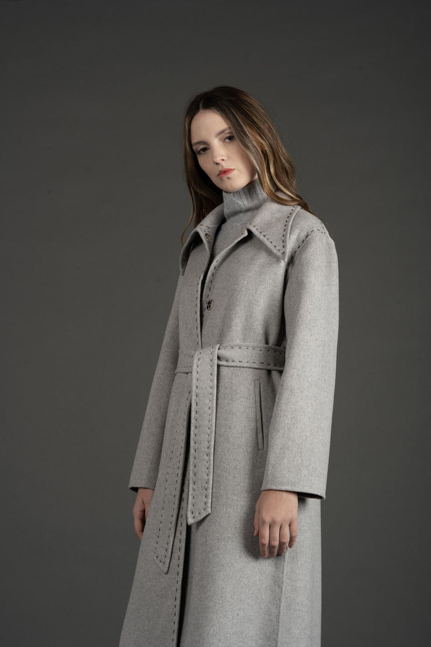 JL080B Gray Marking Stitch Detailed Coat