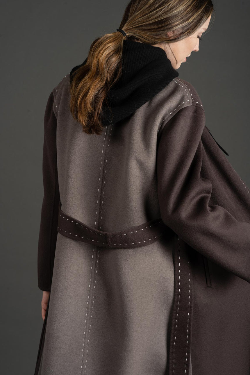 JL080A Coffee Purple Marking Stitch Detailed Coat