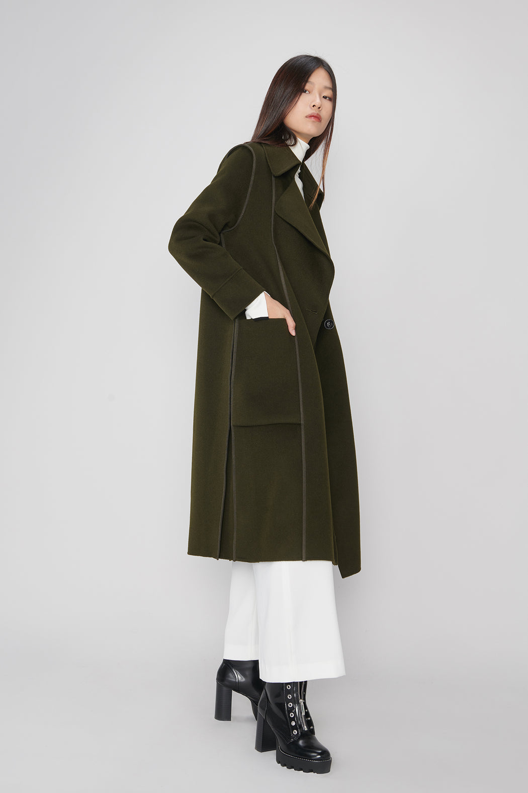 JL055A Olive Green wool Coat