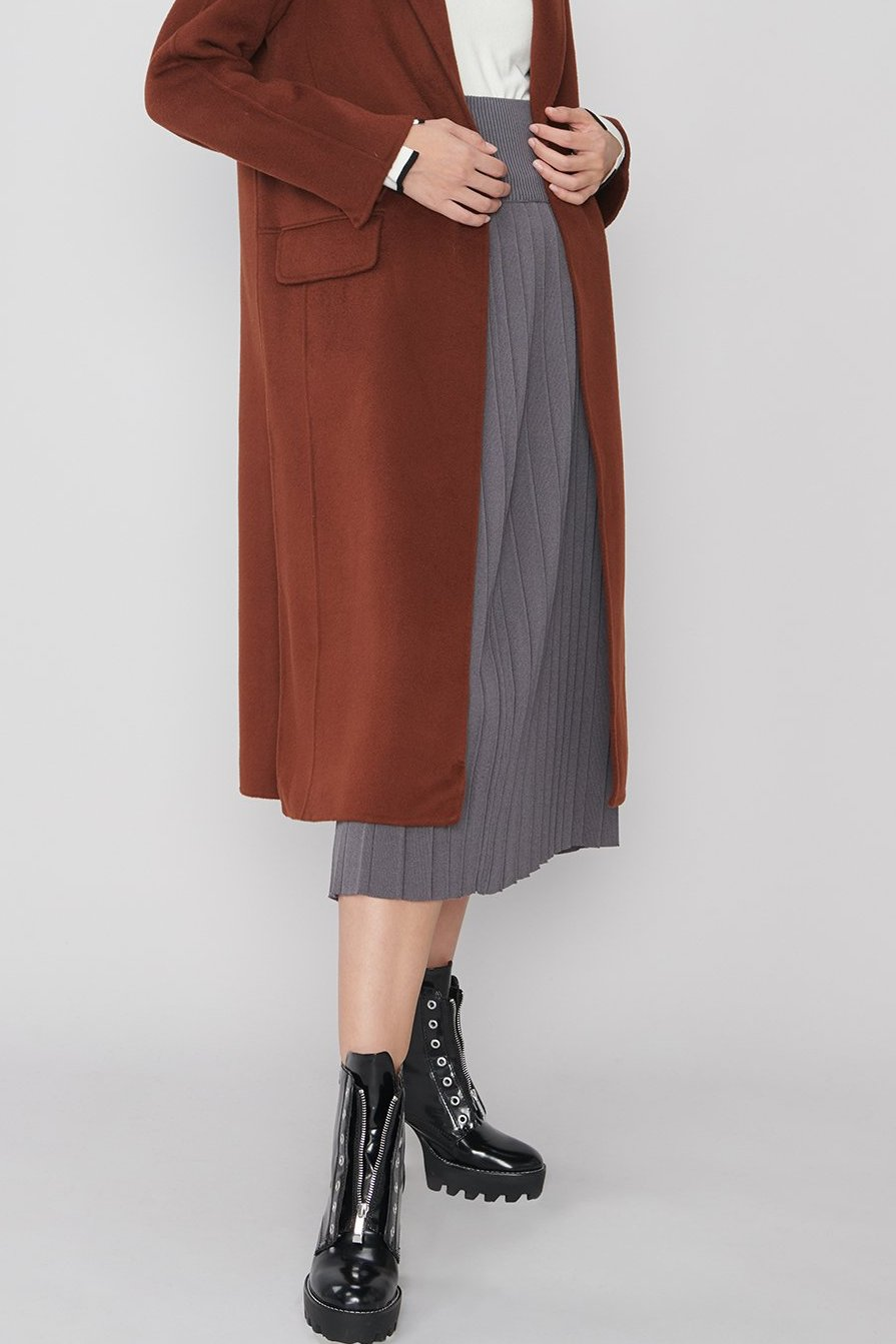 M101 Dark Gray Jersey Pleated Skirt