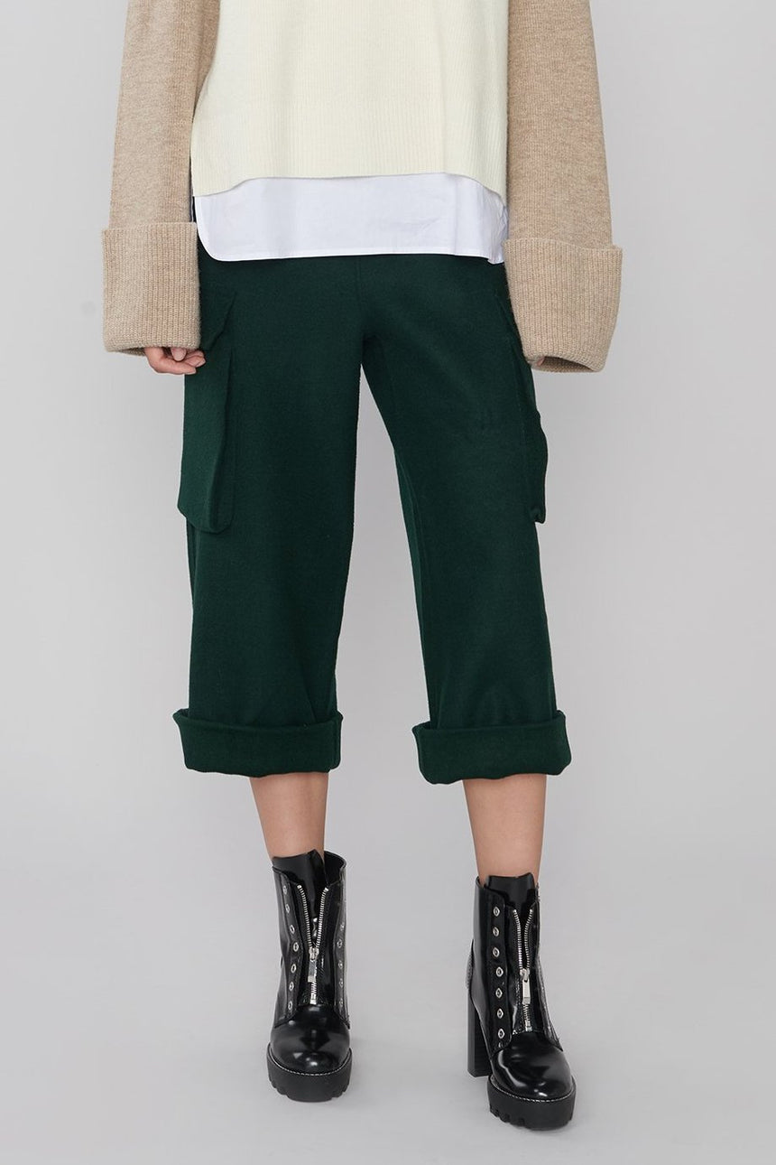 FB001 Deep Teal Green Wool Cargo Pants