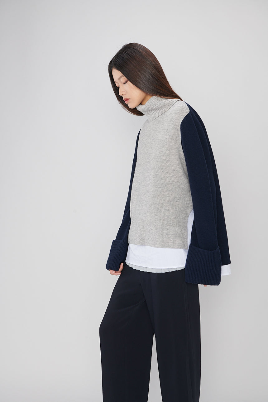 CS004 Gray & Navy Multi Layered Sweater