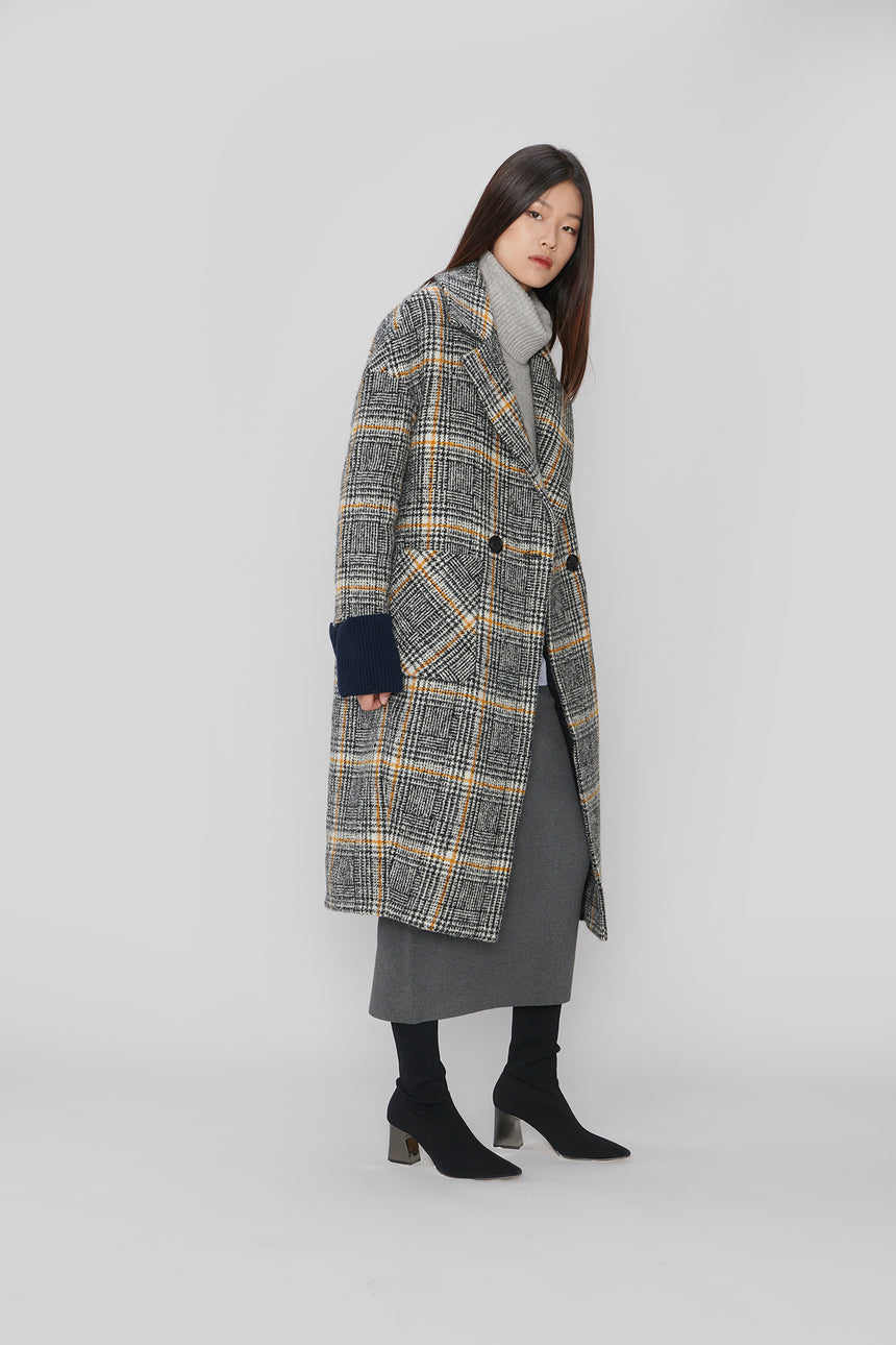JL058 Black & Yellow Mohair coat