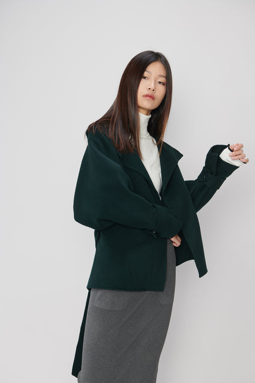 JL059 Deep Teal Green Jacket with Belt