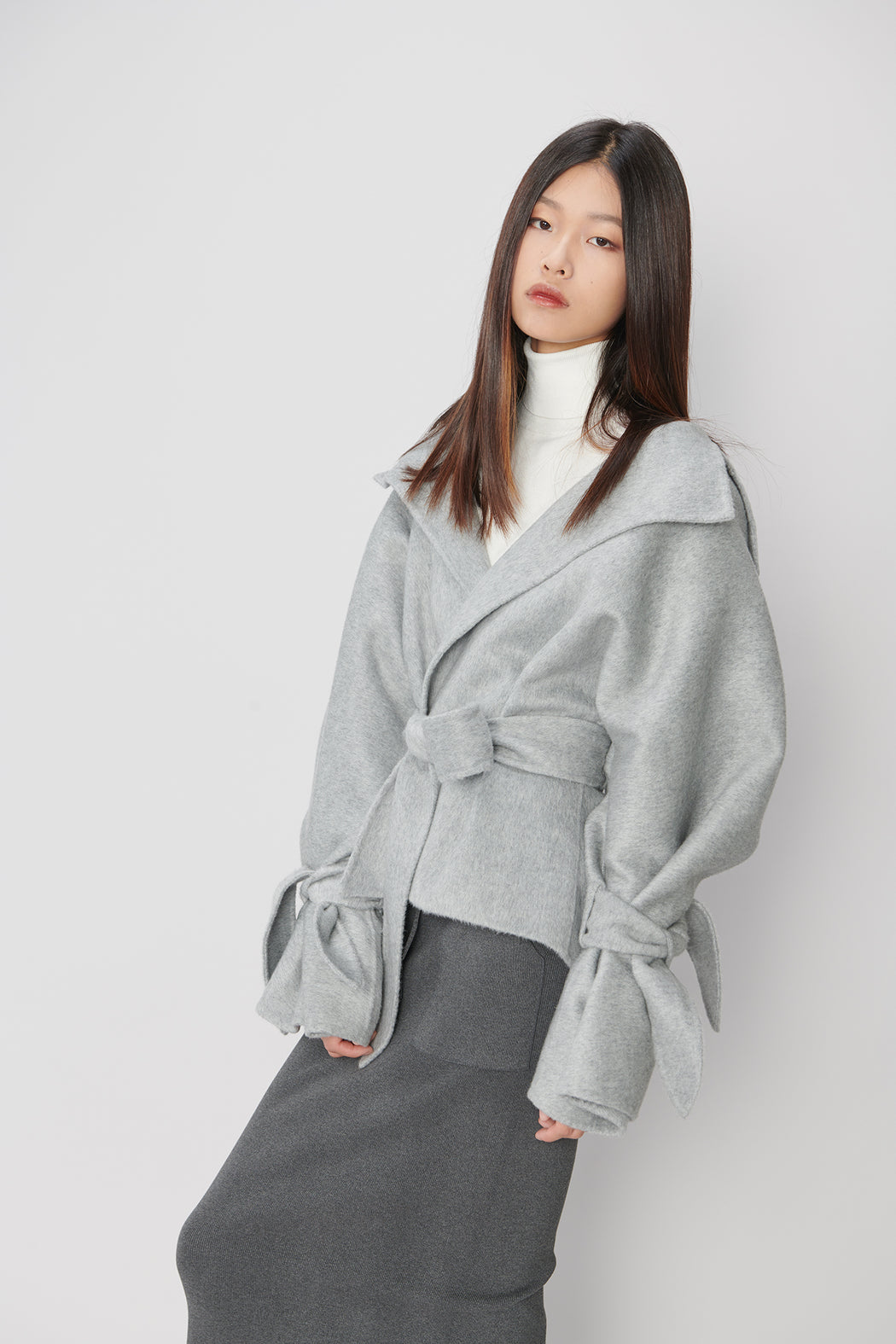 JL042 Cashmere Gray Jacket with Belt