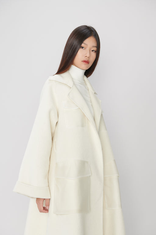 HC053 Creamy White Coat with PVC Pocket
