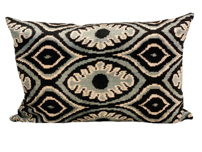 Ady Teal Velvet Ikat Pillow