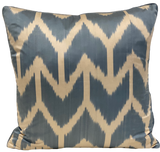 Aziz Pale Blue Silk Ikat Pillow