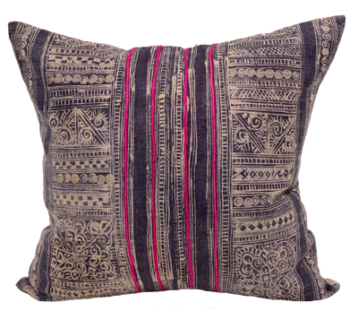 Blue Batik with Pink Embroidery Pillow