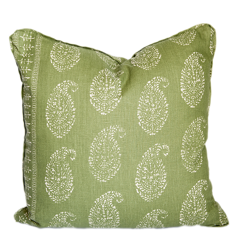 Kashmir Paisley Green Pillow