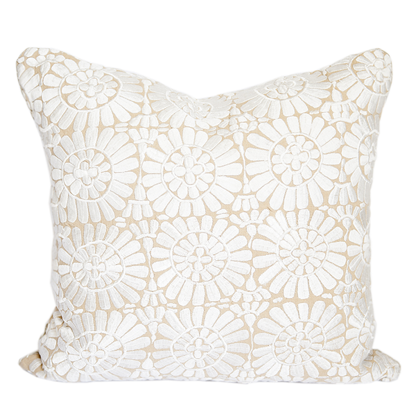 White Embroidered Fez Pillow