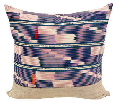 Found Ikat Stripe Blue/Pink Pillow