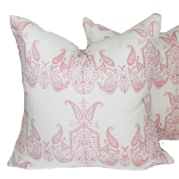 Embroidered Pink Paisley Pillows (pair)
