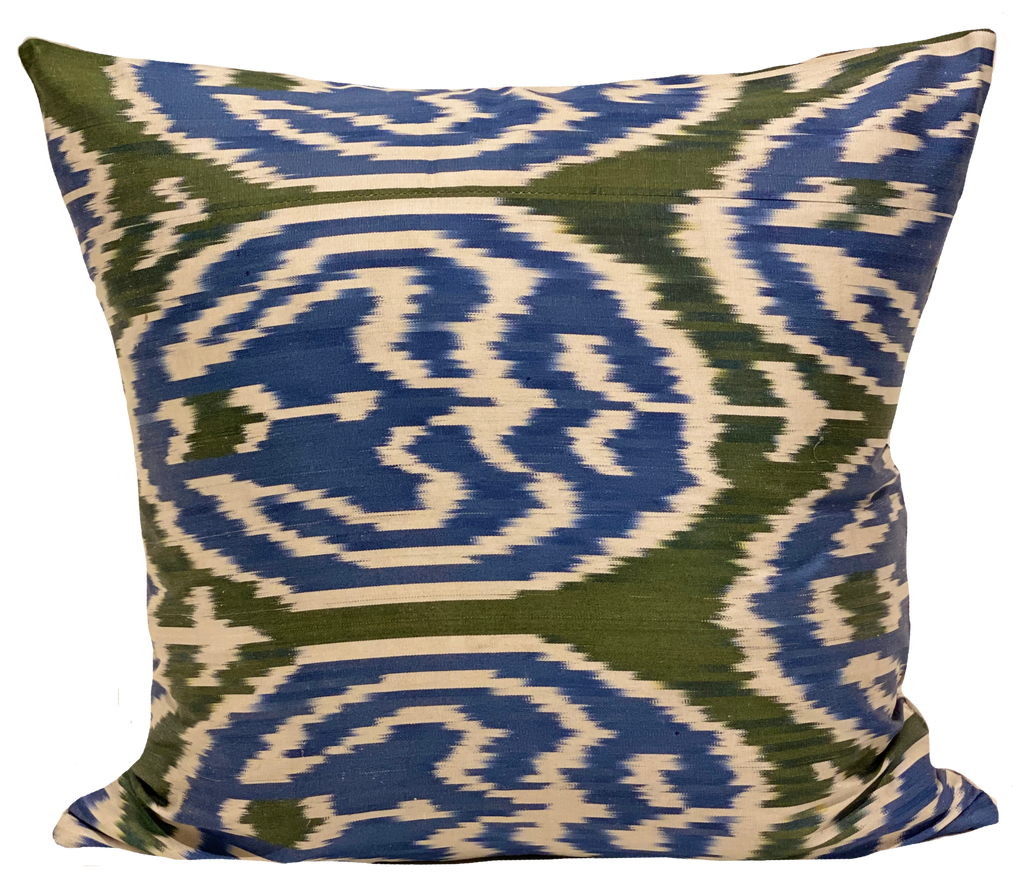 Ginger Green Silk Ikat Pillow