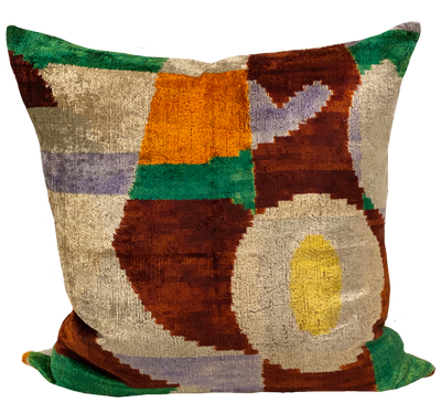 Greti Multi Velvet Ikat Pillow