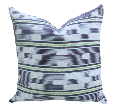 Found Ikat Stripe Green Pillow